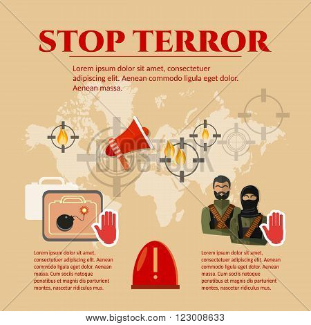 Stop terrorism concept global threat world terror group terrorists vector set
