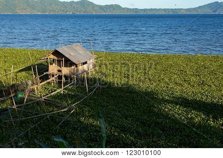 Fish farm and hatchery or nursery Lake Tondano Sulawesi Indonesia (Celebes) Asia