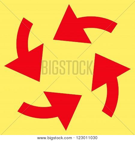 Cyclone Arrows vector pictogram. Image style is flat cyclone arrows pictogram symbol drawn with red color on a yellow background.