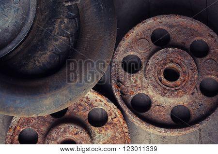 old vintage rusty wheels on the floor