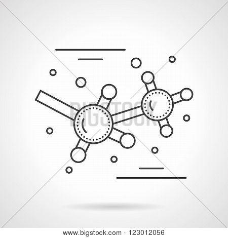 Science and education sign. Molecule symbol. Molecular bonds. Chemistry and physic. Vector icon flat thin line style. Element for web design, business, mobile app.