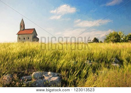 Romanesque church Saint Michael and beautiful meadow, Drazovce, Slovakia, illustration with colored pencils