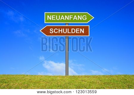 Signpost with 2 arrows shows Debt Recommencement in german language