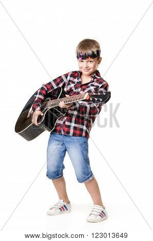 Boy Is Playing On Guitar - Isolated On White Background