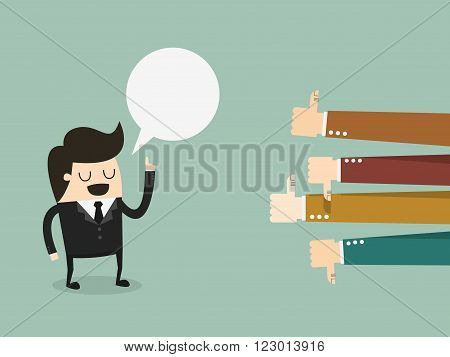 Feedback businessman talking and positive and negative concepts with thumbs up and down