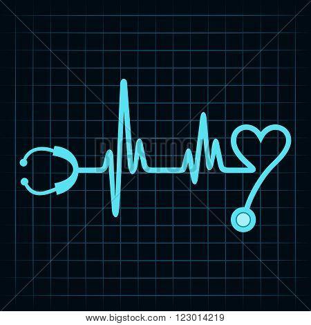 Stethoscope make a heartbeat design stock vector