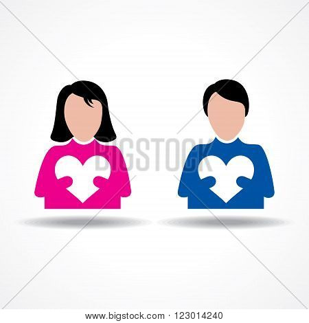 Male and Female icon having their hearts stock vector