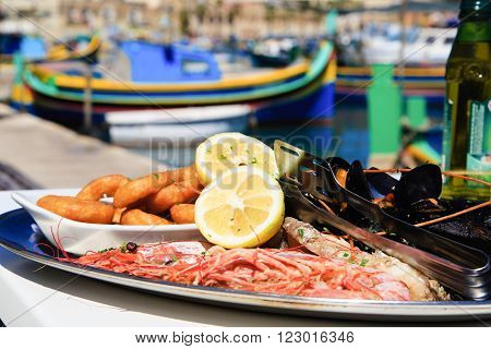 Seafood platter served in mediterranean restaurant at sea