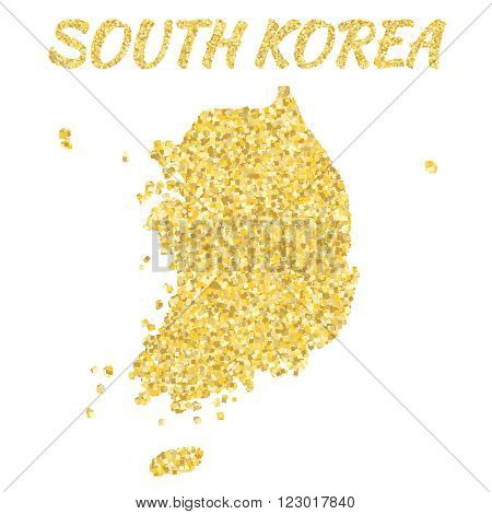 Map of SOUTH KOREA  in golden. With gold yellow particles and dots. Glitter background.