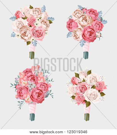 Small vector set of wedding bouquets with roses and freesia