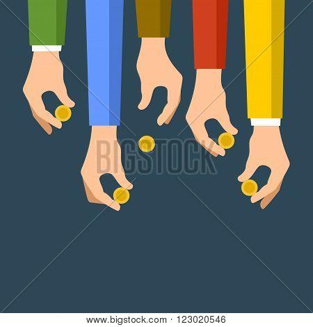 Donating Money Concept. Sponsors Icon. Vector illustration