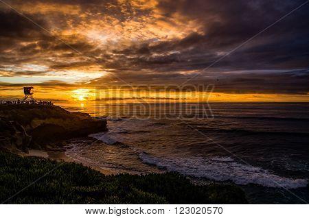 Sunset in La Jolla beach in San Diego, CA, USA