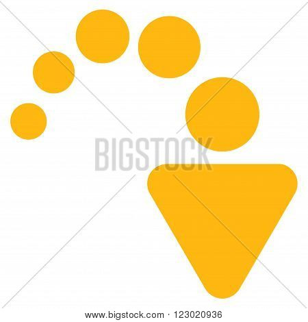 Redo vector symbol. Image style is flat redo icon symbol drawn with yellow color on a white background.