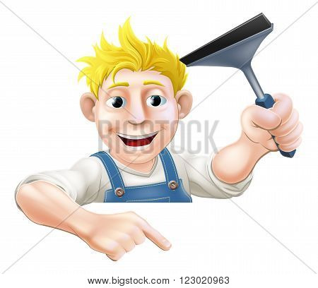 An illustration of a window cleaner holding a squeegee and pointing down at a sign or your message poster