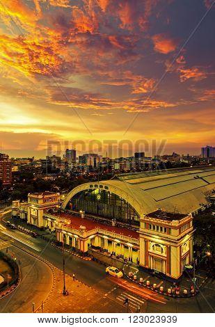 Bangkok Railway Station at Night , Thailand