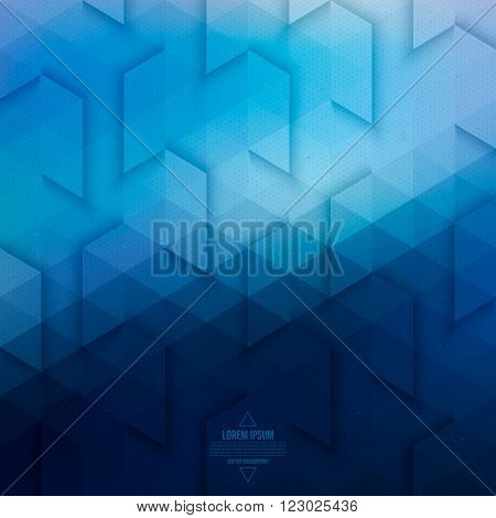 Vector technology abstract geometric background. Vector blue background. Abstract vector pattern. Vector geometric structure. Triangular vector background. Retro vector background. Hipster background poster