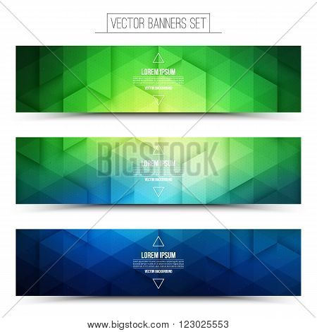 Abstract 3d vector digital internet technology web banners set. Business abstract vector. Design vector elements. Vector abstract technological background. Retro and vintage style vector web banner