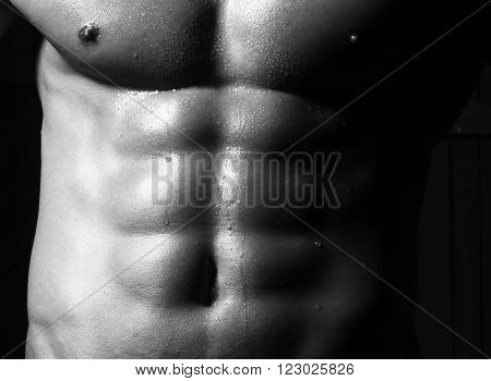 Closeup of cool perfect sexy strong sensual bare torso with abs pectorals and 6 pack muscles and muscular chest black and white studio horizontal picture