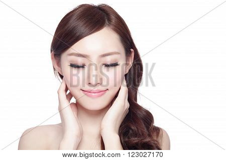 Beauty woman charming smile and relax closed eye enjoy with health skin and hair isolated on white background asian beauty