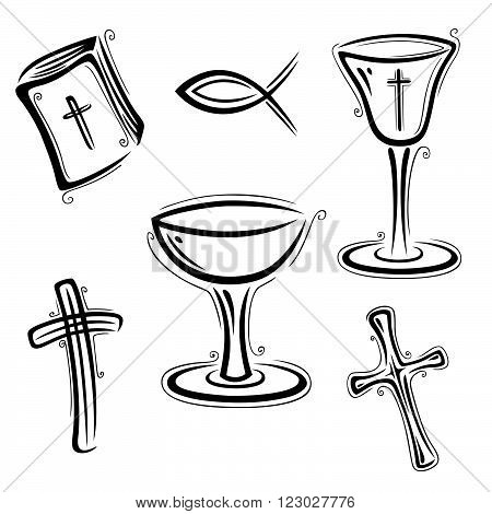 Vector set of believe and religion, design elements.