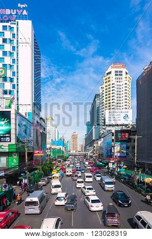 BANGKOK - July 15: Petchaburi Road in thr Pratunam District of Bangkok . The road is one of Bangkok's busiest for traffic.Thailand on July 15 2015.