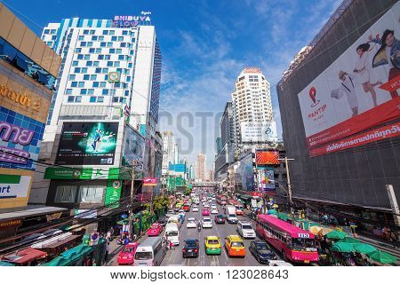 BANGKOKJuly 15: Petchaburi Road in thr Pratunam District of Bangkok . The road is one of Bangkok's busiest for traffic.Thailand on July 15 2015.