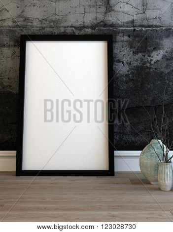 Large empty black picture frame leaning on a modern grey textured wall alongside two ceramic vases on a wooden floor. 3d Rendering.