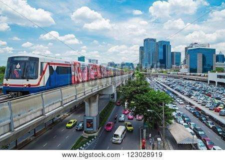 BANGKOK - Aug 14: Transport in the capital of Thailand. Skytrain is popular because it is fast. Thailand on Aug 14 2015.
