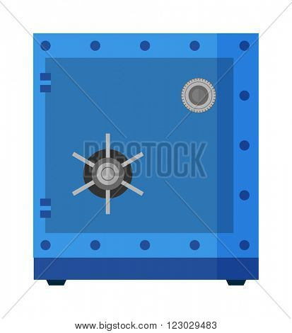 Safe metal box money secure and safe money concept symbol. Finance steel safe treasure storage. Lock metal box safe money concept. Security metal safe with empty space inside protection box vector.