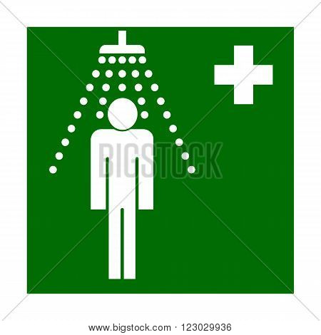 Vector fire emergency icons. Signs of evacuations.  Emergency fire shower, eyewash station in green