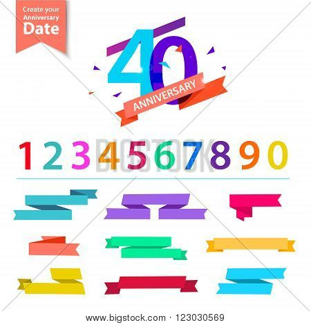 Vector set of anniversary numbers design. Create your own icons, compositions with ribbons, dates and sunbursts . Colorful retro collection