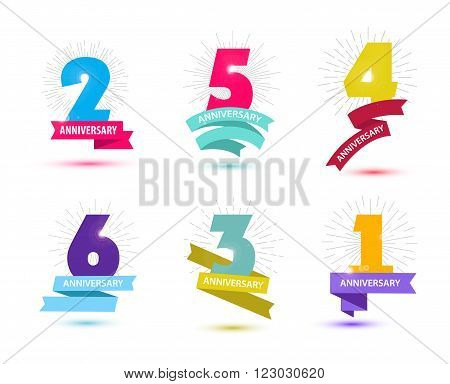 Vector set of anniversary numbers design. 1, 2, 3, 4, 5, 6 icons, compositions with ribbons. Colorful, transparent with shadows on white background isolated
