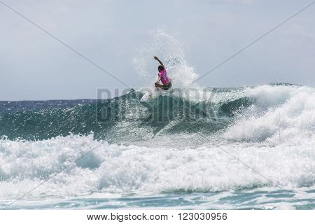 GOLD COAST, AUSTRALIA - MARCH 12 2016: Sally Fitzgibbons (AUS) competing in the Quiksilver Pro at Snapper Rocks Coolangatta