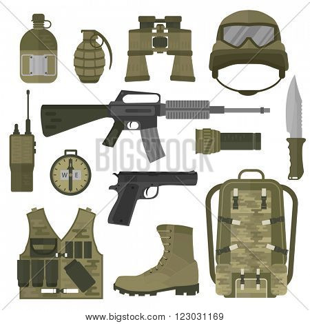 USA or NATO troop military army symbols vector illustration. USA or NATO troop military army symbols isolated on white background. USA or NATO troop military army symbols vector silhouette