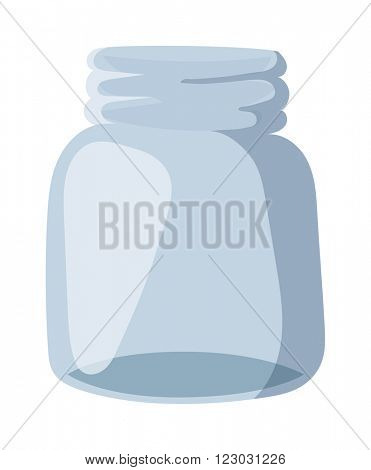 Empty glass bank blank jar classic home dishes vector. Vacant empty bank unoccupied jar and empty bank finansial jar savings concept. Glass Jar for canning and preserving with cover empty bank vector.