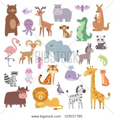 Cartoon animals character and wild cartoon cute animals collections vector. Cartoon zoo animals big set wildlife mammal flat vector illustration.