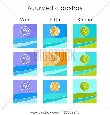 Ayurveda vector illustration. Ayurvedic elements. Set of flat icons with ayurvedic doshas vata pitta kapha. Ayurvedic body types. Ayurvedic symbols in linear style. Alternative medicine.