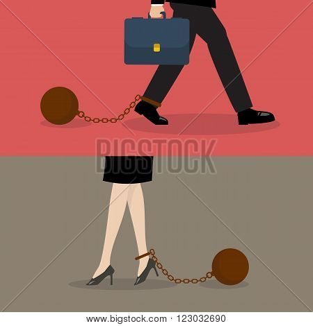 Business man and business woman with weight burden. Business concept