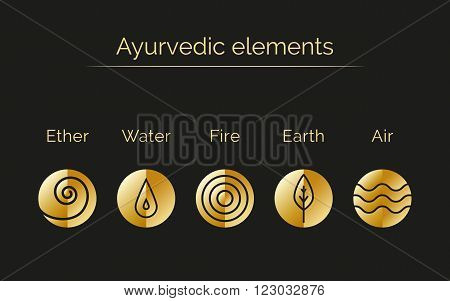 Ayurveda vector illustration with gold texture. Ayurvedic elements: water fire air earth ether. Ayurvedic symbols in linear style. Alternative medicine. Infographic with flat icons.