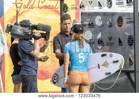 GOLD COAST, AUSTRALIA - MARCH 12 2016: Nikki Van Dijk (AUS) competing in the Roxy Pro at Snapper Rocks Coolangatta