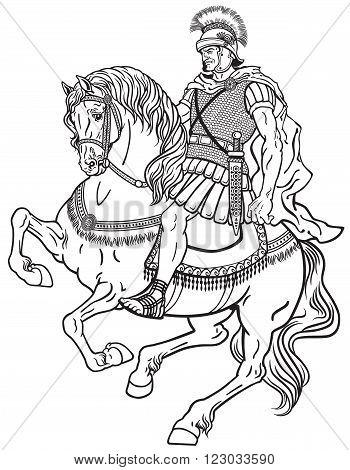 roman warrior riding the horse. Black and white illustration
