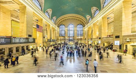 NEW YORK USA - OCT 22 2015: people at Grand Central Terminal New York City which was first build in 1871. This is the largest subway terminal by number of platforms.