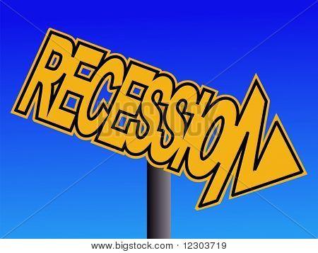 Recession warning sign on blue sky illustration JPG