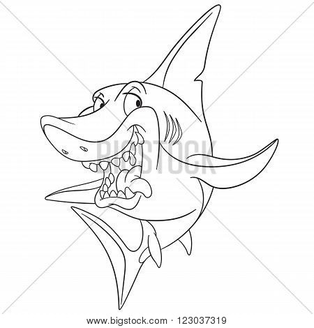 dangerous and cunning predatory cartoon shark is ready to attack isolated on a white background