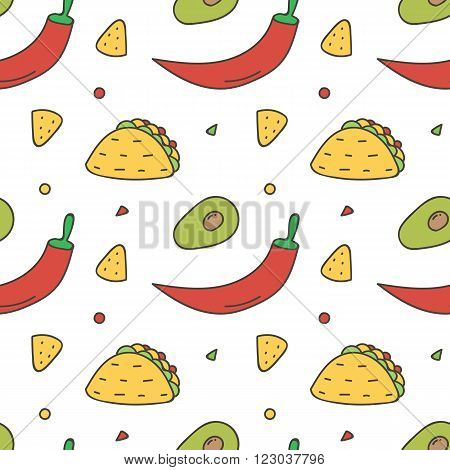 Colorful Mexican food seamless pattern background. Hot chili pepper, avocado, nachos and taco background.