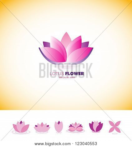 Vector company logo icon element template lotus pond flower pink purple set meditation relaxation spa