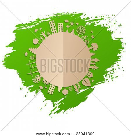 Green Eco Earth With Gradient Mesh, Vector Illustration