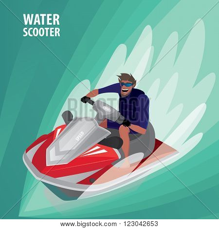 Happy man in blue dive skin rushes on red water scooter - Recreation or sport concept