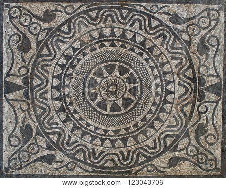 Uprising sun on Mosaic in Roman villa, from II Century B.C.