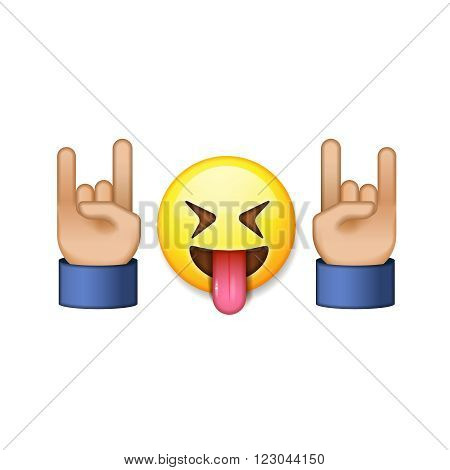 Rock and roll sign, smiling emoji icon, vector illustration.